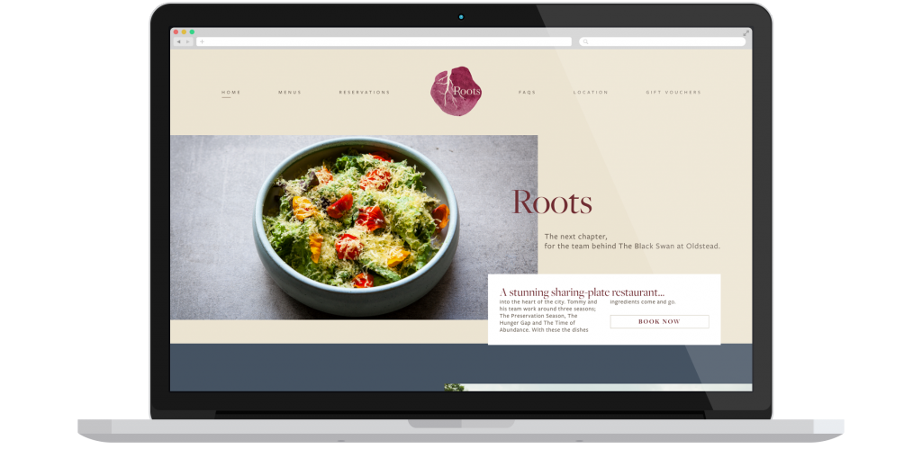 Mockup of the Roots York homepage on a laptop.